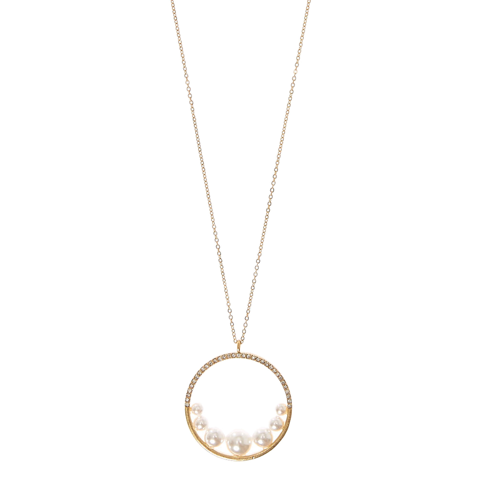 Faux Pearl  amp  Crystal Circle Pendant Necklace cfcb6ef58