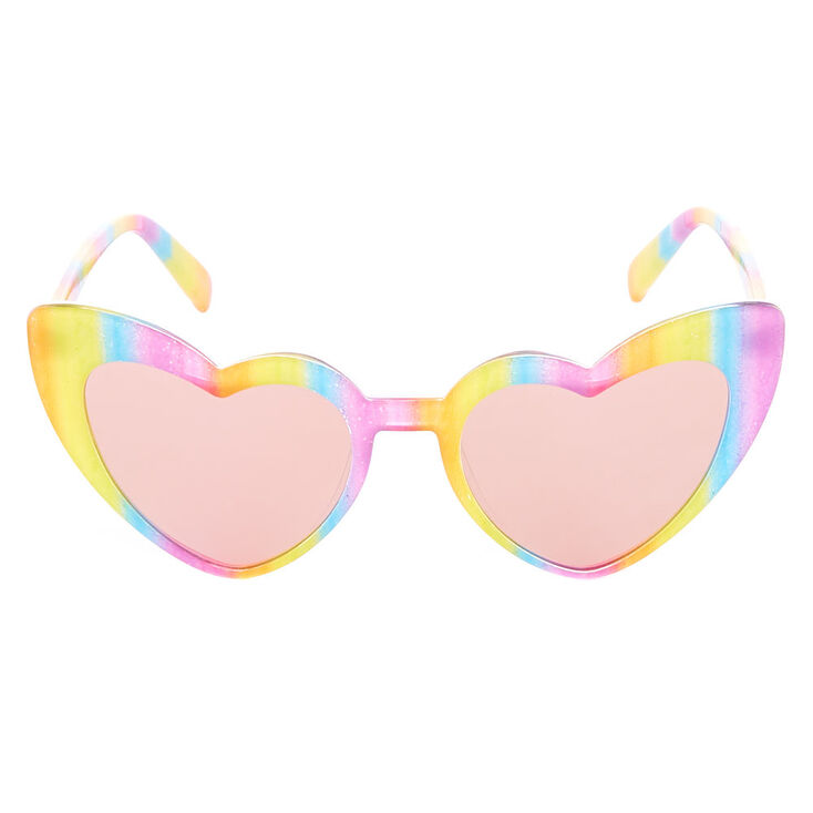 Rainbow Striped Heart Wing Cat Eye Sunglasses,