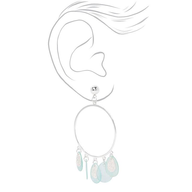 """Silver 2"""" Circle Gypsy Seashell Drop Earrings - Mint,"""