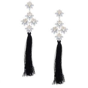 5 Tel Crystal Clip On Drop Earrings Black