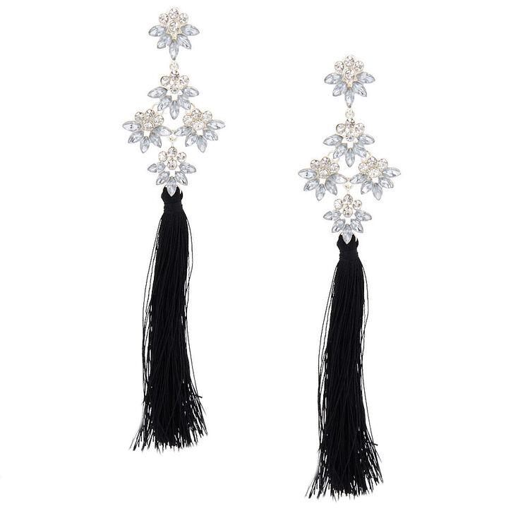 5 Tel Crystal Clip On Drop Earrings