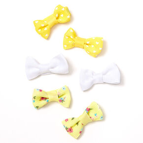 Claire's Club Floral Polka Dot Bow Hair Clips - Yellow, 6 Pack,