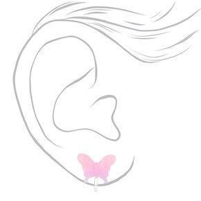 Boucles d'oreilles à clip papillon à paillettes couleur argentée - Rose,