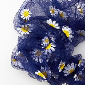 Gros chouchou avec marguerites en tulle transparent - Bleu marine,