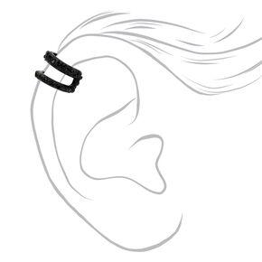 Black Textured Double Row Ear Cuff,