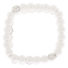 Silver Pearl Layered Stretch Bracelet,
