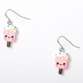"Silver 1"" Happy Popsicle Drop Earrings - Pink,"