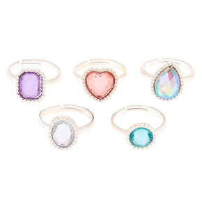 Claire's Club Crystal Rings - 5 Pack,