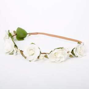 Ivory Rose Flower Crown Headwrap,