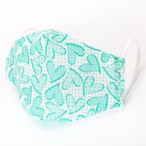 Cotton Mint Heart Polka Dot Face Mask – Child Medium/Large,