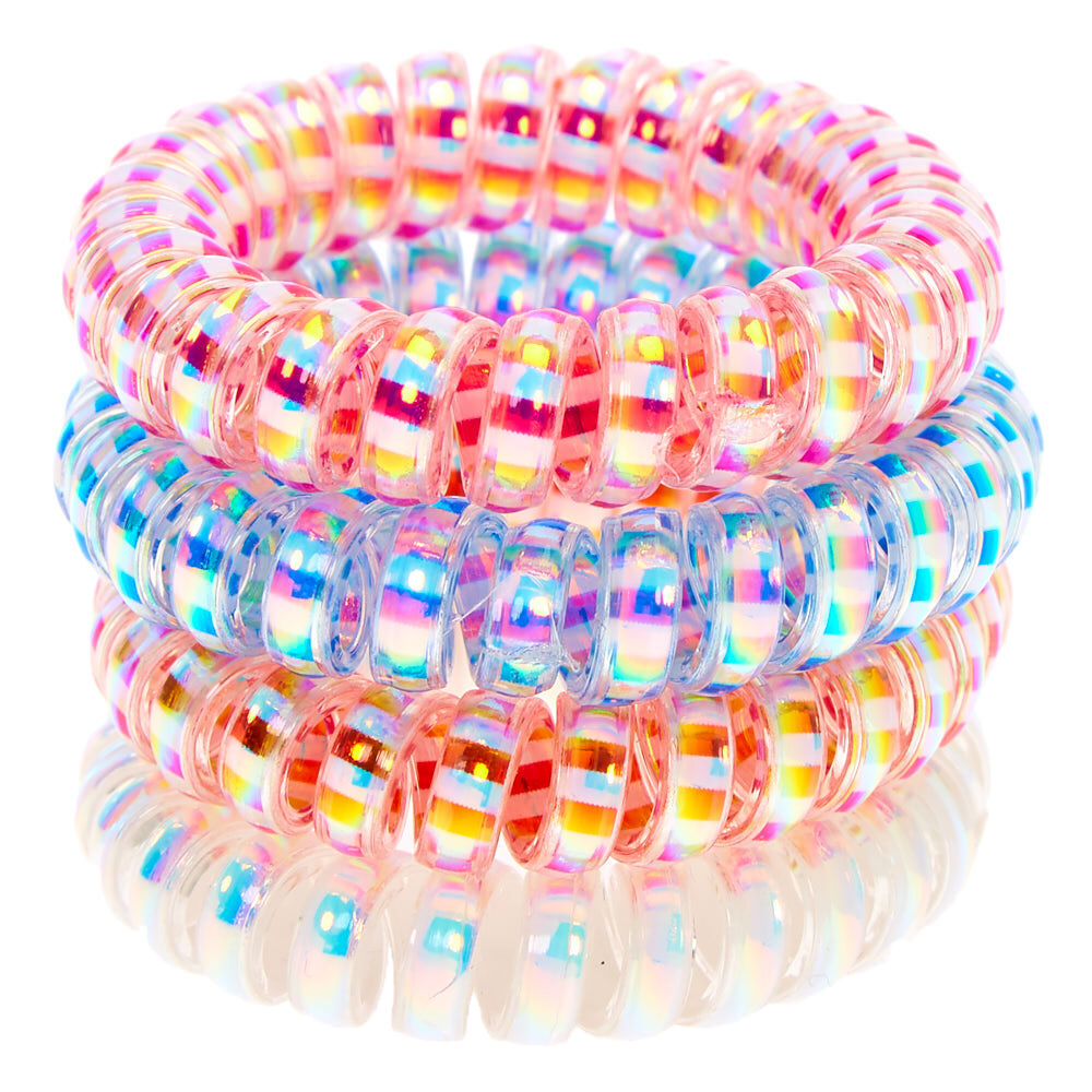 Claire/'s Girl/'s Holographic Glitter Spiral Hair Bobbles Blue 4 Pack