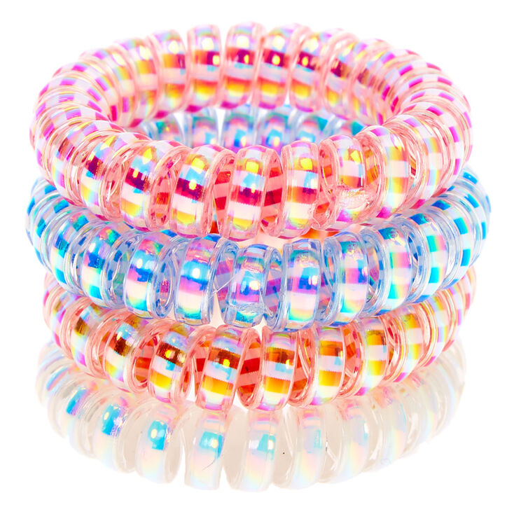 Striped Holographic Spiral Hair Ties -  4 Pack,