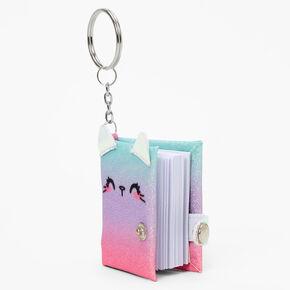 Ombre Cat Mini Glitter Diary Keyring,