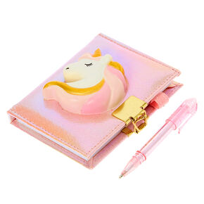 Claire's Club Squish Unicorn Lock Diary - Pink,