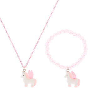 Claire's Club Fuzzy Unicorn Jewellery Set - Pink, 2 Pack,