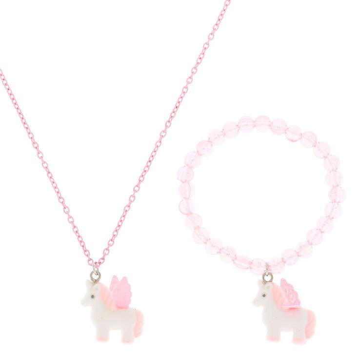 Claire's Club Fuzzy Unicorn Jewelry Set - Pink, 2 Pack,