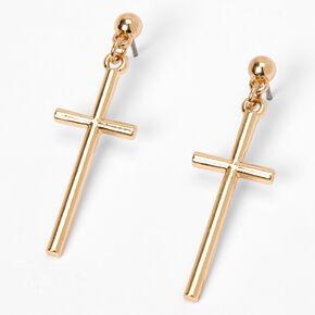 """Gold 1.5"""" Basic Cross Drop Earrings,"""
