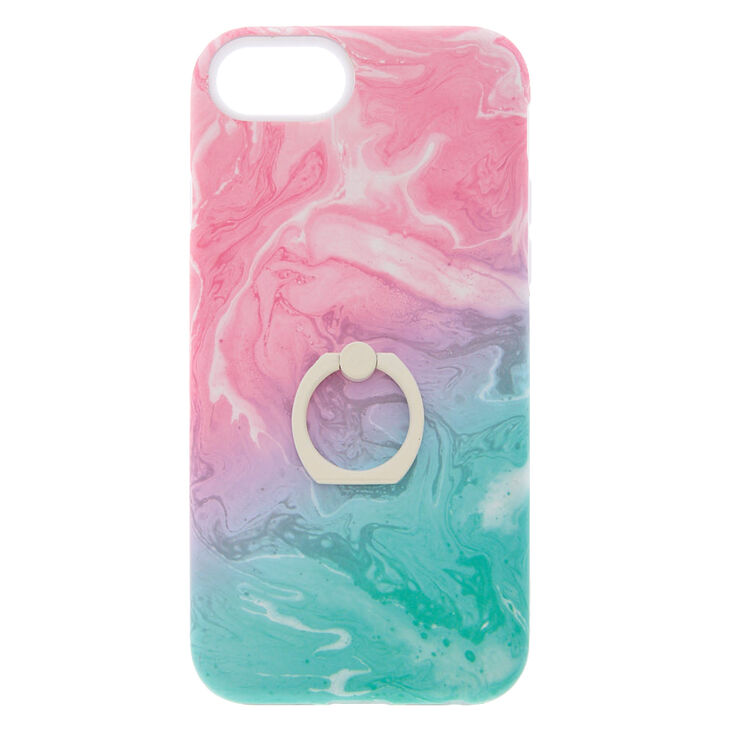 Pastel Watercolor Ring Holder Protective Phone Case Fits