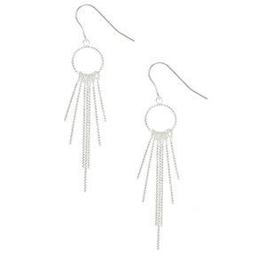 "Silver 1.5"" Textured Circle Bar Drop Earrings,"