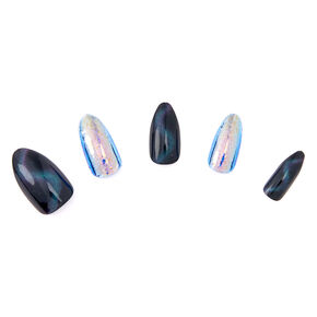 3D Cat Eye Mermaid Stiletto Faux Nail Set - Black, 24 Pack,