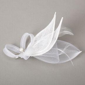 Embellished Teardrop Fascinator Hair Clip - White,