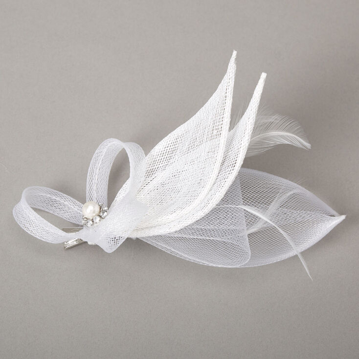 Embellished Teardrop Fascinator Hair Clip - White,