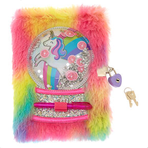 2e5d025bc6e Miss Glitter the Unicorn Snowglobe Lock Plush Diary