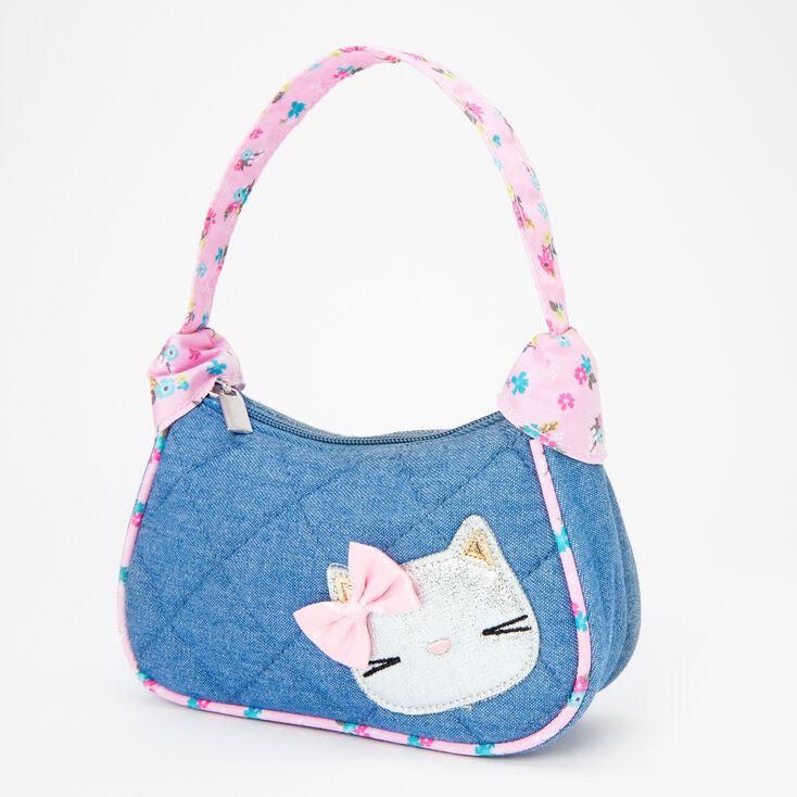 Claire's Club Quilted Denim & Floral Cat Handbag,