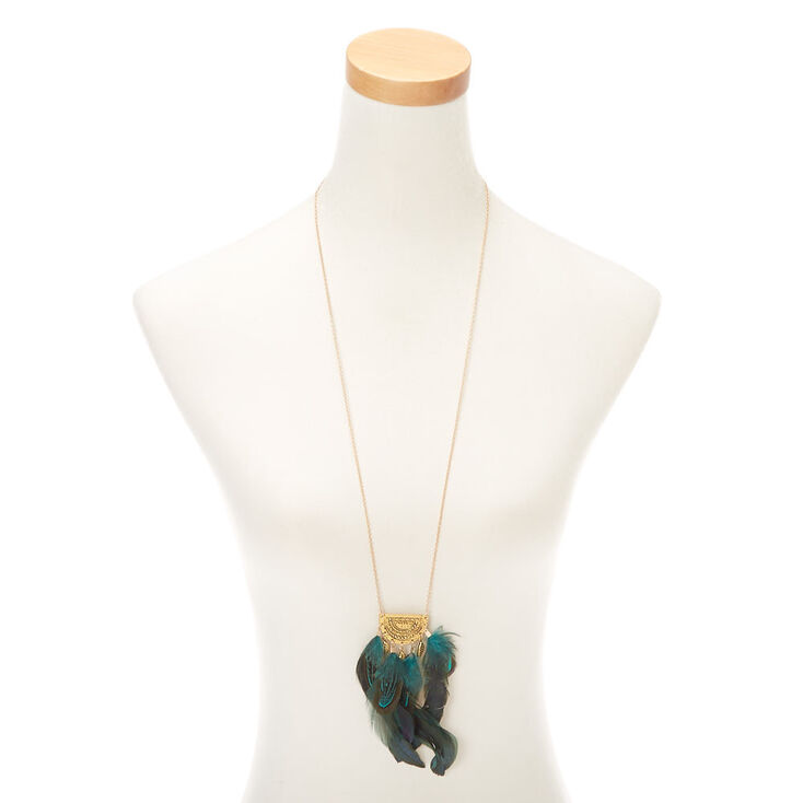 Gold Half Moon Feather Long Pendant Necklace - Green,