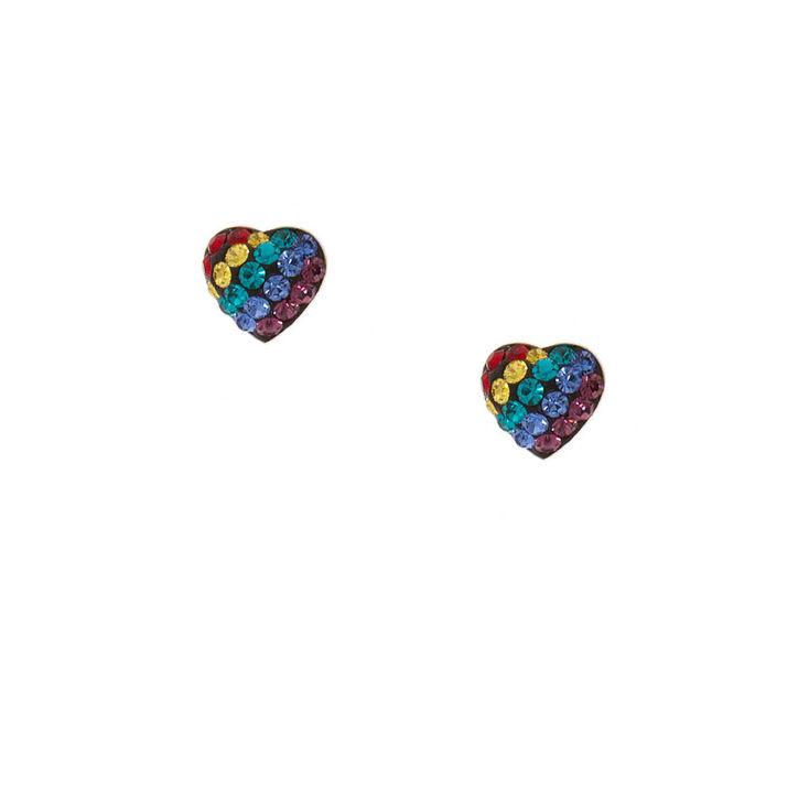 Sterling Silver Rainbow Heart Stud Earrings,