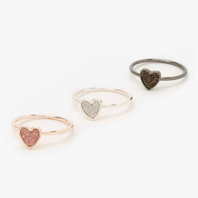 Mixed Metal Glitter Heart Midi Rings - 3 Pack,