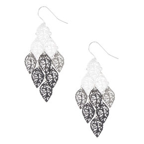 "Silver 1.5"" Ombre Filigree Leaf Drop Earrings - Black,"