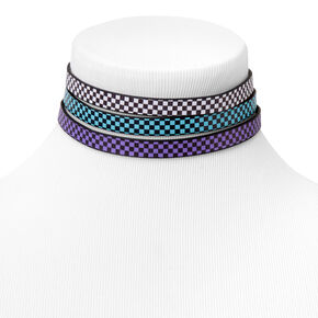 Multicolour Checkered Choker Necklaces - 3 Pack,