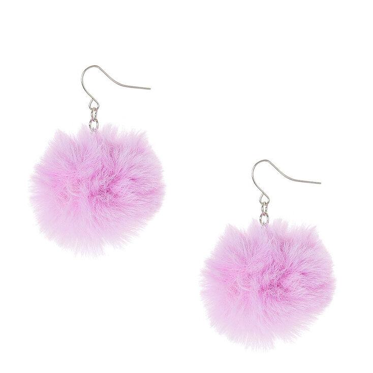 """1.5"""" Pom Pom Drop Earrings - Purple,"""