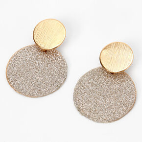 "Mixed Metal 1"" Glitter Circle Drop Earrings,"