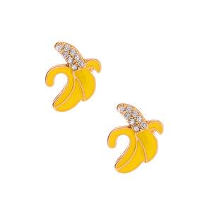 Gold Banana Stud Earrings - Yellow,