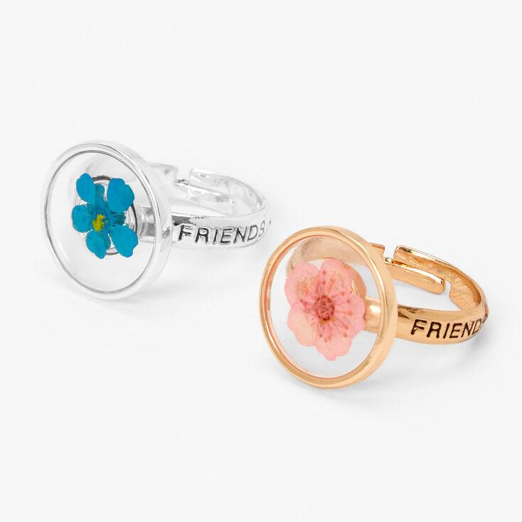 Best Friends Pressed Flowers Rings - 2 Pack,