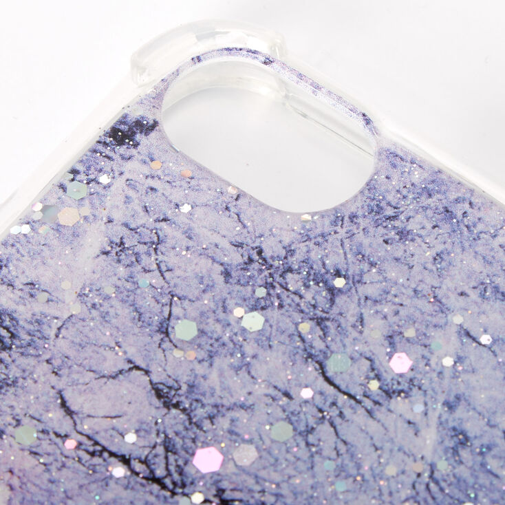 Purple Glitter Marble Protective Phone Case - Fits iPhone 6/7/8/SE,