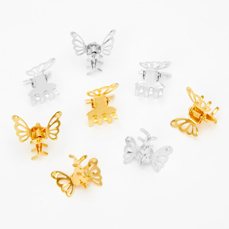 Gold & Silver Butterfly Hair Claws - 8 Pack,
