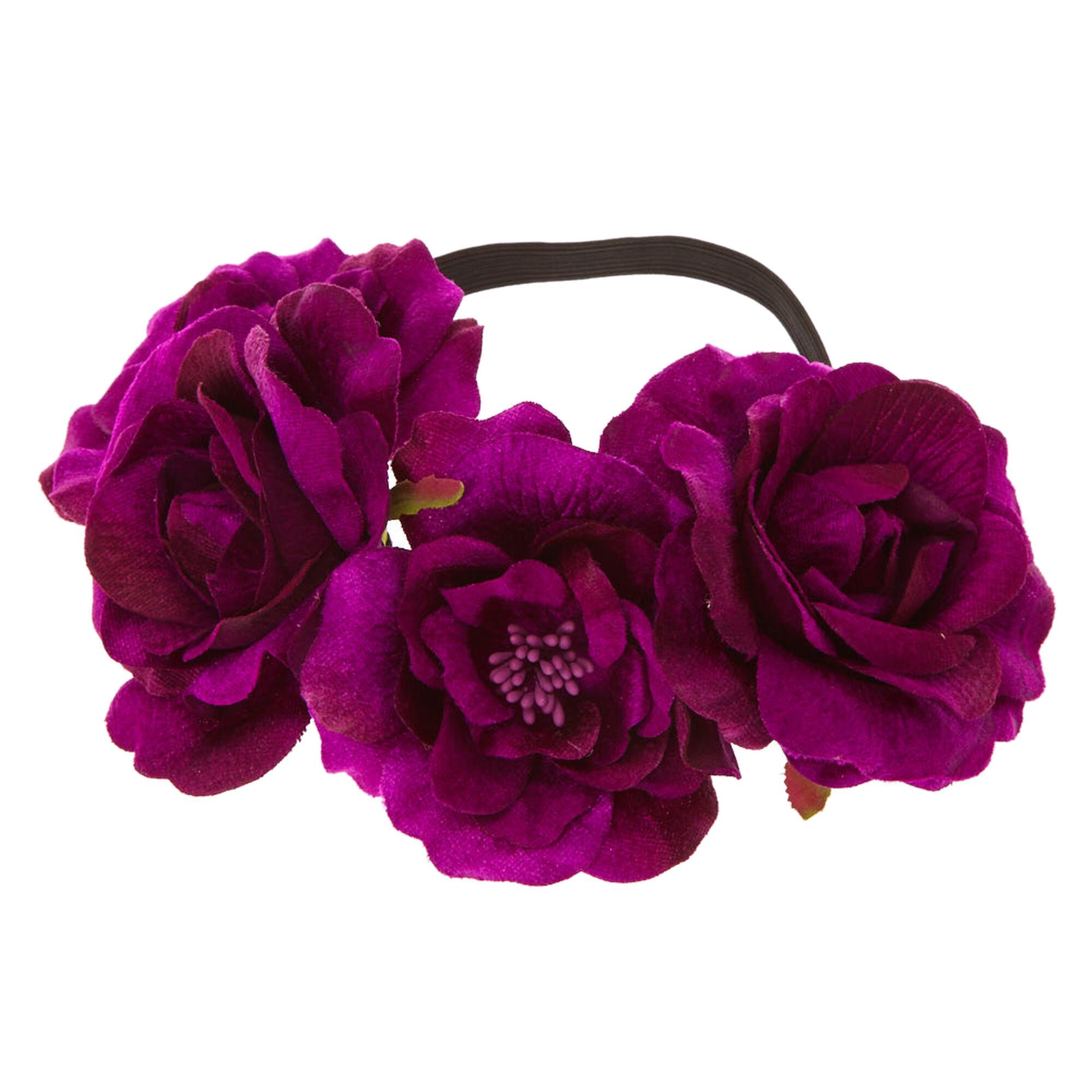 purple velvet flower crown headwrap claire 39 s us. Black Bedroom Furniture Sets. Home Design Ideas