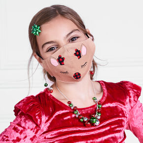 Cotton Holiday Reindeer Face Masks - Child Medium/Large,