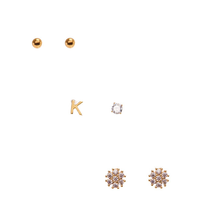 18kt Gold Plated K Initial Stud Earring Set