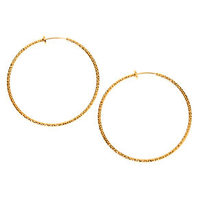 Gold 50MM Textured Clip On Hoop Earrings,