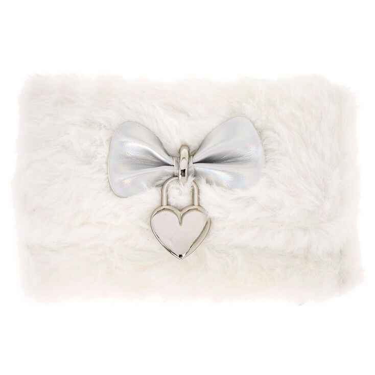 8f1573b63f0 White Fur Heart Charm Wallet   Claire s US