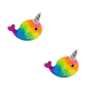 Rainbow Narwhal Stud Earrings,
