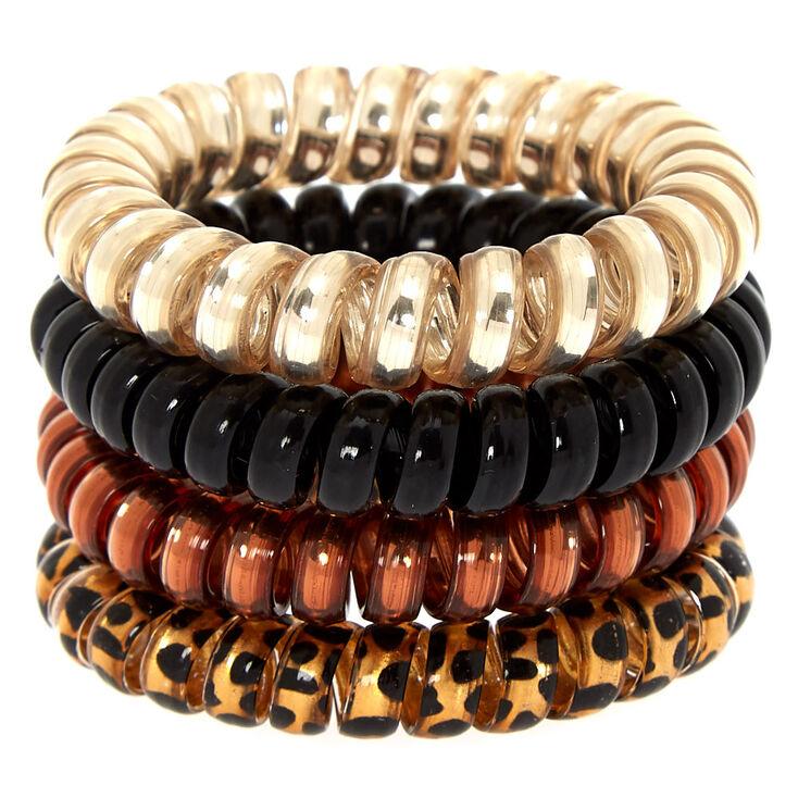 Metallic Leopard Spiral Hair Ties - 4 Pack,