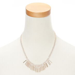 Rose Gold Glass Rhinestone Bib Statement Necklace,