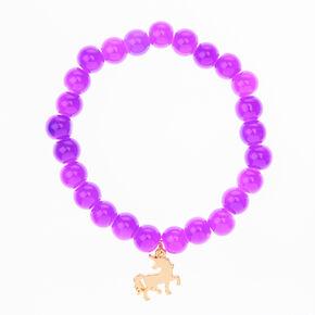 Unicorn Beaded Stretch Bracelet - Purple,