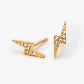 Gold Titanium Lightning Bolt Stud Earrings,