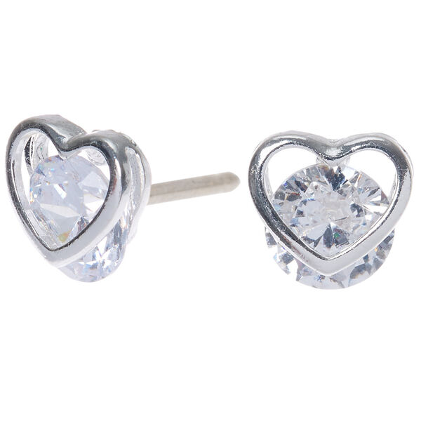 Claire's - cubic zirconia 8mm round heart stud earrings - 1